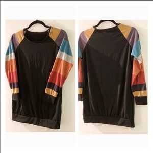 Multi coloured striped sleeve Stretch Top-size S
